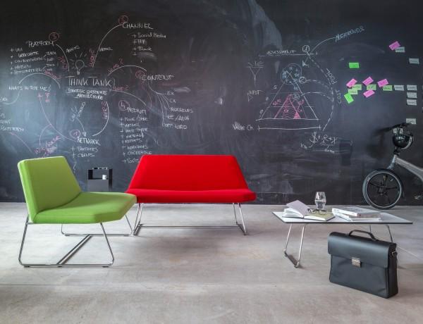Lounge Sofa 120 cm mit Chromgestell Modern