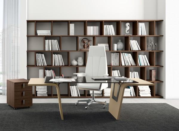 Büromöbel Set Schreibtisch mit Glasplatte inklusive Regale Lorrus