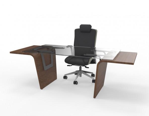Exklusiver Designer Schreibtisch mit Glasplatte Lorrus