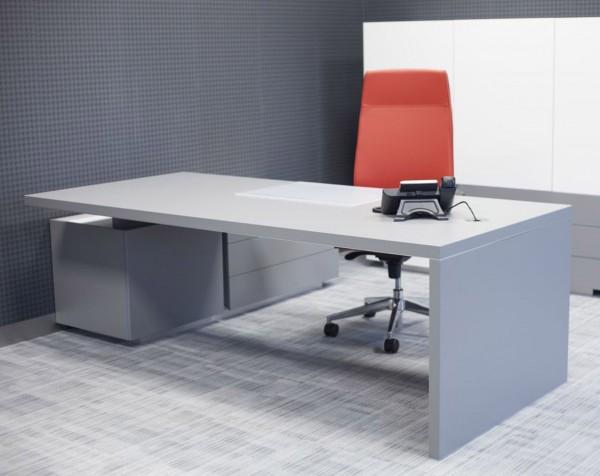 Schreibtisch grau integr. Sideboard Ostapp