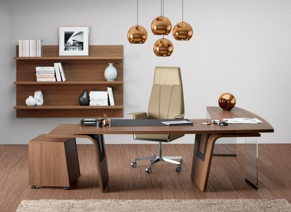Schreibtisch Walnuss Winkelkombination Lorrus