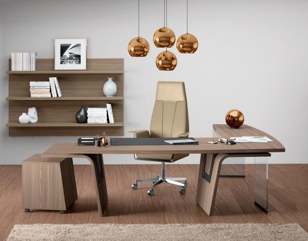 Moderner Schreibtisch L-Form Eiche Lorrus