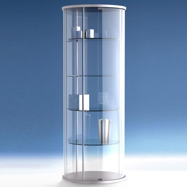 Runde Glasvitrine mit Flügeltür abschließbar
