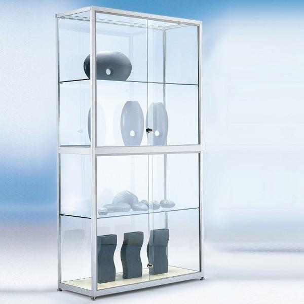 Glasvitrine mit Schiebetüren abschließbar