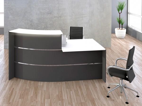 Empfangstresen Büro Barys mit Schreibtisch - Ausführung Anthrazit