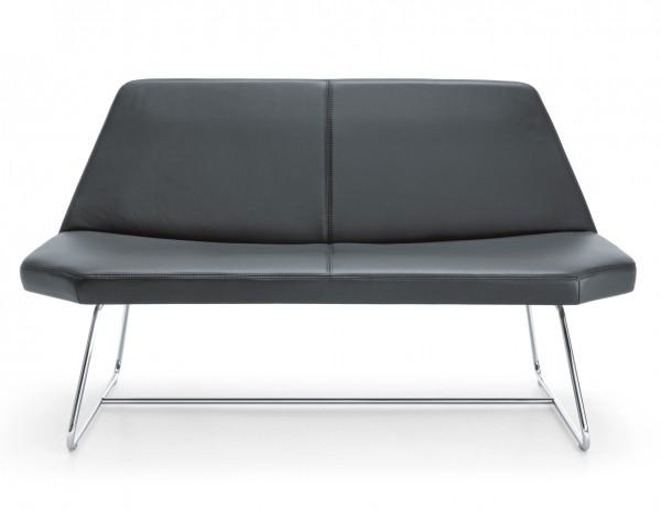 Design Echtleder Sofa 2 Sitzer mit Chromgestell