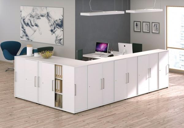 Büro Schrankwand Weiß 3OH Dommo Schiebetüren